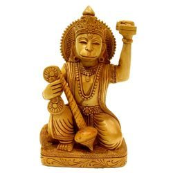 Natural Wooden Sitting Hanuman Statue