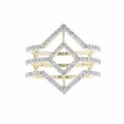 Pave Diamond Rhombus Gold Ring