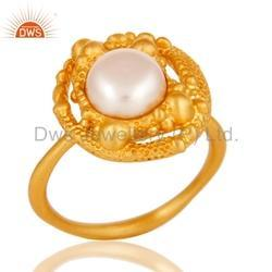 Handmade Gold Plated Pearl Fashion Ring