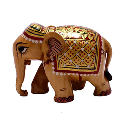 White Wood Painted Elephant Family Statue
