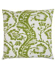 Parrot Green Cotton Floral Hand Block Printed Cushion Cover