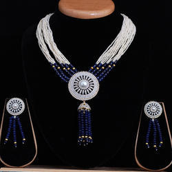 Blue American Diamond Mala Set