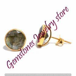 Labradorite Gemstone Ear Stud