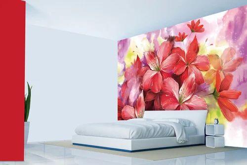 Floral Wallpaper Pink Bloom Watercolor Painted