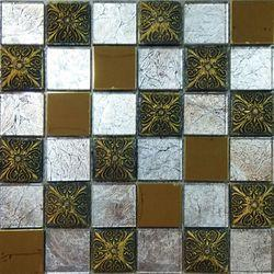 Resine Emboss Gold Glass Mosaics Tile