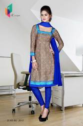 Brown and Blue Italian Crepe Uniform Salwar Kameez