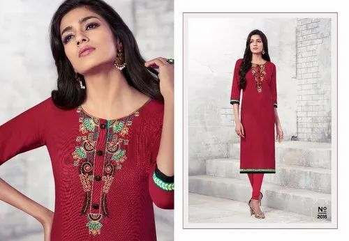d9c95333d8 Designer Kurti - Ajmera Fashion Yellow Cotton Designer Kurti Manufacturer  from Surat
