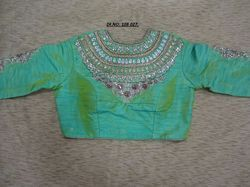 Green Banglori Silk Embroidered Stitched Blouse