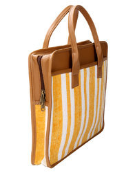 Cotton And Leather Laptop Office Bag