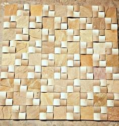 Yellow Mint Sandstone Mosaic Tiles for Wall Cladding