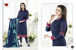 Navy Blue Crepe Silky Salwar Suit Fabric