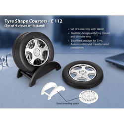 Tyre Shape Coaster Set With Stand