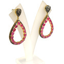 Pave Diamond Ruby Gemstone 925 Sterling Silver Earrings