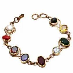 Multi Colour Brass Navratna Bracelet for Men and Women