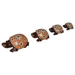 Wooden Tortoise Stone Set With Mirror Work