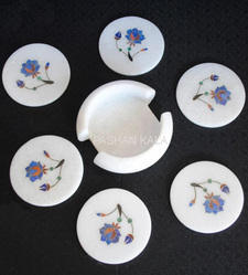 White Marble Inlay Coasters Set