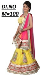 Yellow Net Embroidered Lehenga Choli