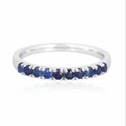 10K White Gold Blue Sapphire Gemstone Band Ring