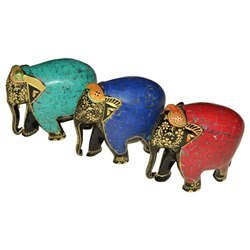 Handmade Wooden Elephant With Stone Work