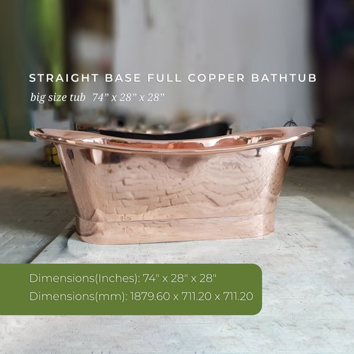 Copper Bath Tub Straight Base Full Copper Bathtub Big Size