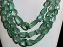Green Fluorite Faceted Nugget Tumble Gemstone Bead Necklace