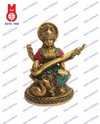 Saraswati Sitting On Lotus W/Stone Work Statues