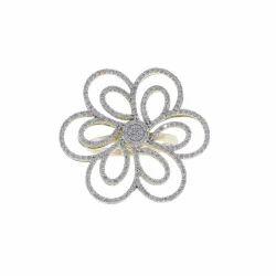 Flower Yellow Gold Diamond Ring
