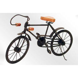 Wrought Iron Decorative Cycle With Wood Seat