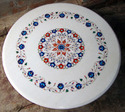 White Marble Inlay Coffee Table Top