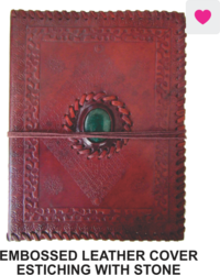 Journal Embossed Leather Cover Estiching With Stone
