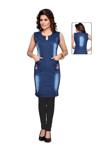 e887f2e019fd Ladies Short Midi Dress - Denim Casual Short Midi Dress Manufacturer ...