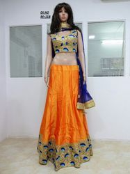 Orange Dhupion Embroidered Lehenga Choli