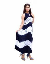Maxi Rayon Crepe Calf Tie Dye Blue Women Dresses