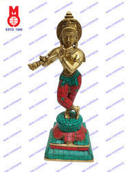Stone Lord Krishna Standing Statue With Double Base