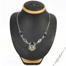 Handcrafted Amethyst Gemstone Silver Necklace