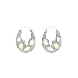 Opal Gemstone Designer Hoop Earrings