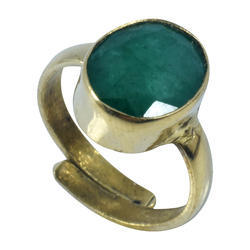 Natural Emerald ( Panna ) Gemstone Adjustable Ring