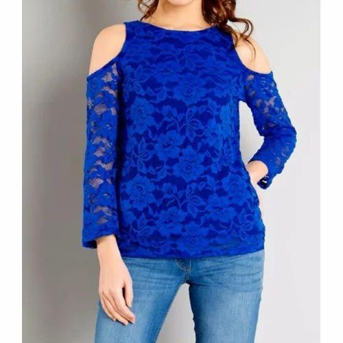 f86097e1662b7 Ladies Fancy Tops - Ladies Royal Blue Cold Shoulder Top Wholesale ...