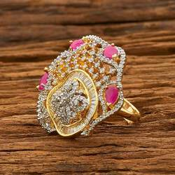 CZ Traditional 2 Tone Plated Finger Ring - 55092