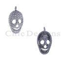 Pave Diamond Silver Skull Charm