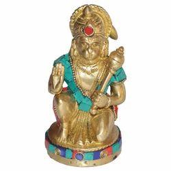 Brass Hanuman With Stone Work
