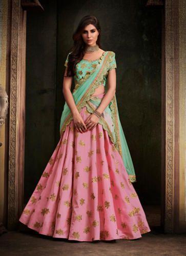 315c02d2ab4 Lehenga Choli - Pink Khadi Silk Resham Work Lehenga Choli ...