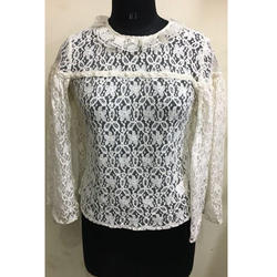 Ladies Net Cream Top
