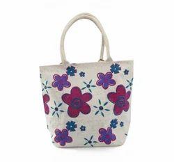 Jute Floral Print Shoulders Bag