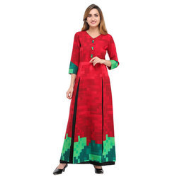 Cottinfab Printed Kurta with front Slit