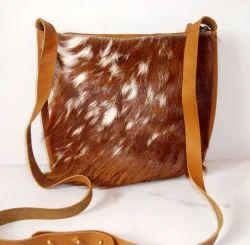 Hair Leather Antique Designer Sling Bag.