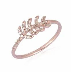 Pave Natural Diamond Leaf Band Ring