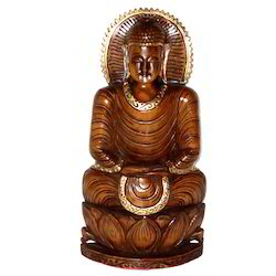 Wooden Black Finishing Kamal Buddha Statue
