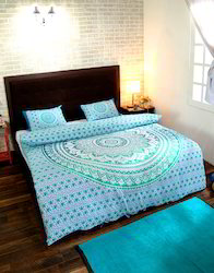 Turquoise Green Printed Cotton Duvet Cover With Pillow