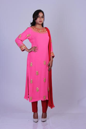 apparels gota patti work pink suit with red pants retailer from jaipur